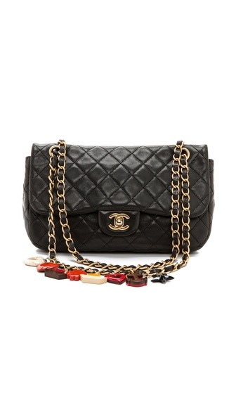Vintage Chanel Black Quilted Charm Bag