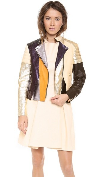 Colorblocked Biker Jacket with Shoulder & Elbow Padding