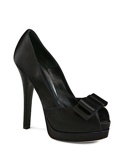 Deco Satin Bow Platform Pumps