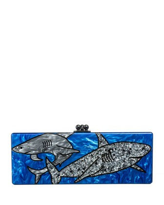 Sharks Acrylic Clutch Bag, Ocean Multi - Edie Parker