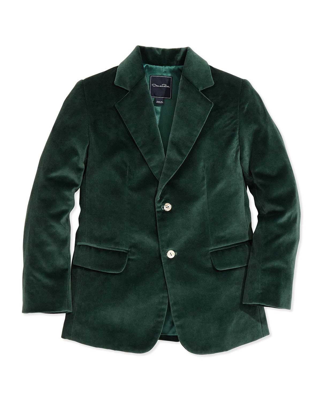 Velvet 2-Button Blazer, Emerald, 2Y-10Y - Oscar de la Renta