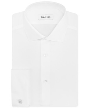 Calvin Klein Dress Shirt, STEEL White Exploded Check Long-Sleeved Shirt with French Cuff