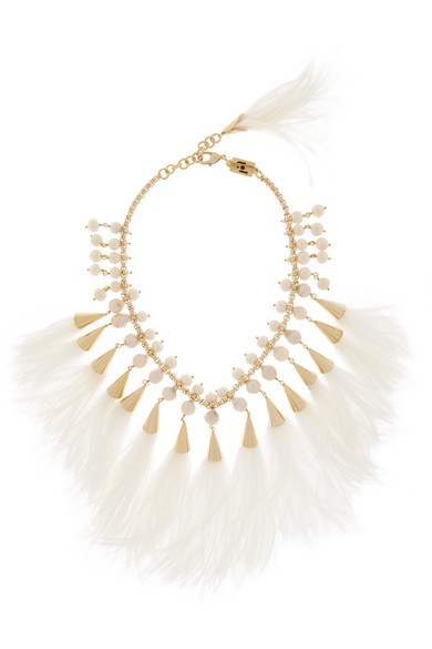Faggio gold-tone, feather and pearl necklace