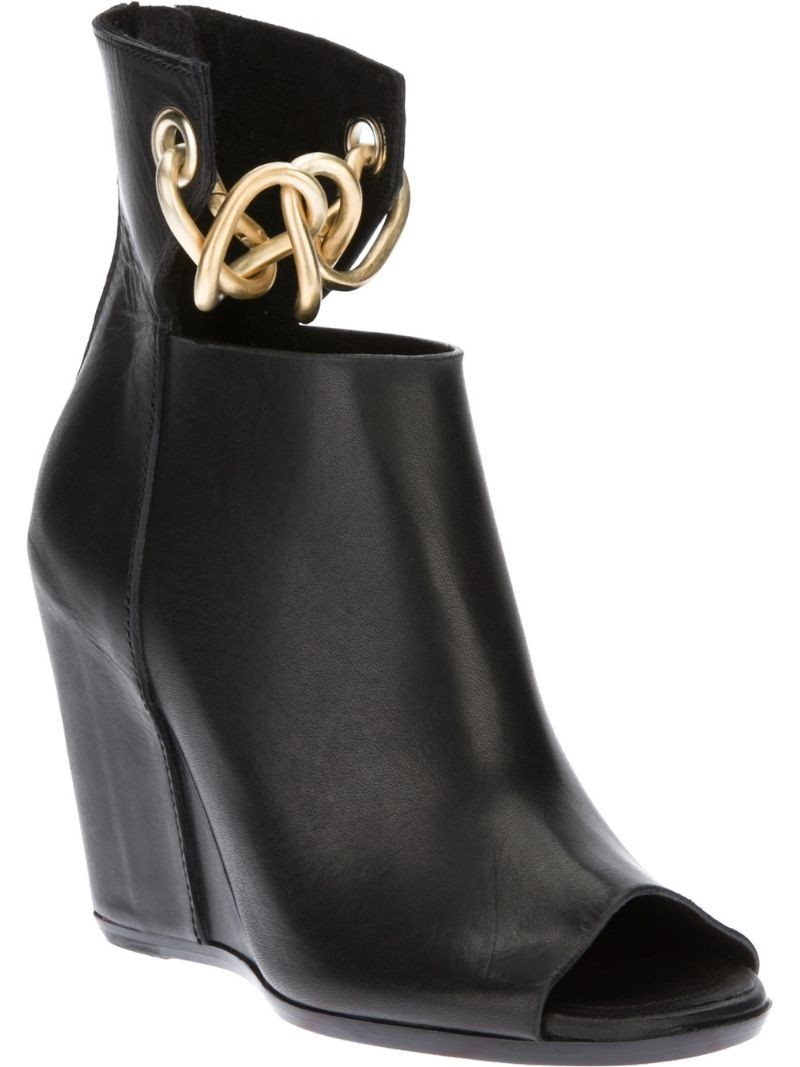 RICK OWENS chain detail wedge boot