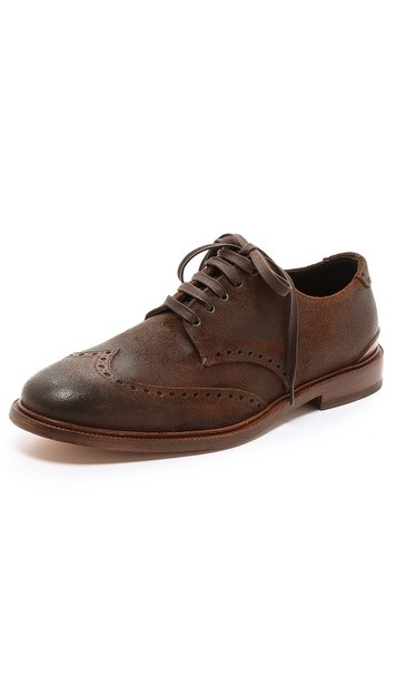 Archer Waxed Suede Wingtip Brogues