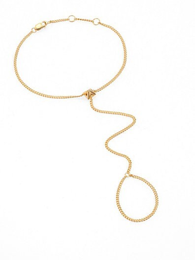 Kristen 18K Yellow Gold Vermeil Hand Chain Bracelet & Ring