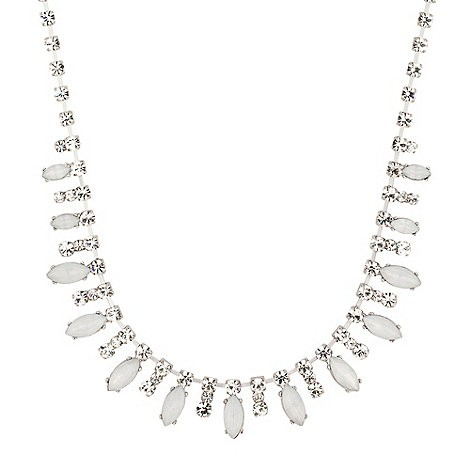 Diamante crystal and opalescent stone drop necklace
