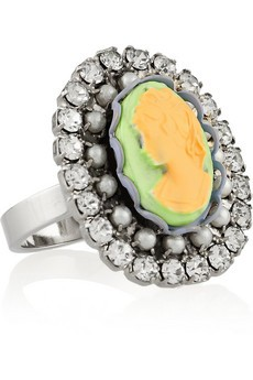 Pearl & Crystal Ring with Yellow Cameo