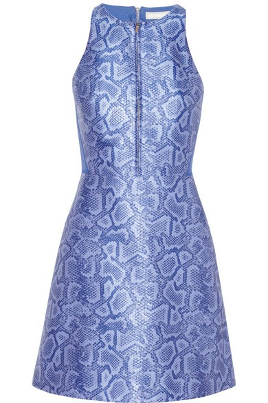 Neoprene-paneled python-jacquard dress