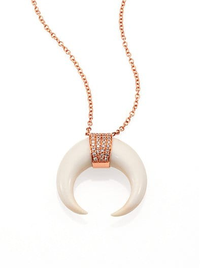 Double Bone Horn, Diamond & 14K Rose Gold Capped Necklace
