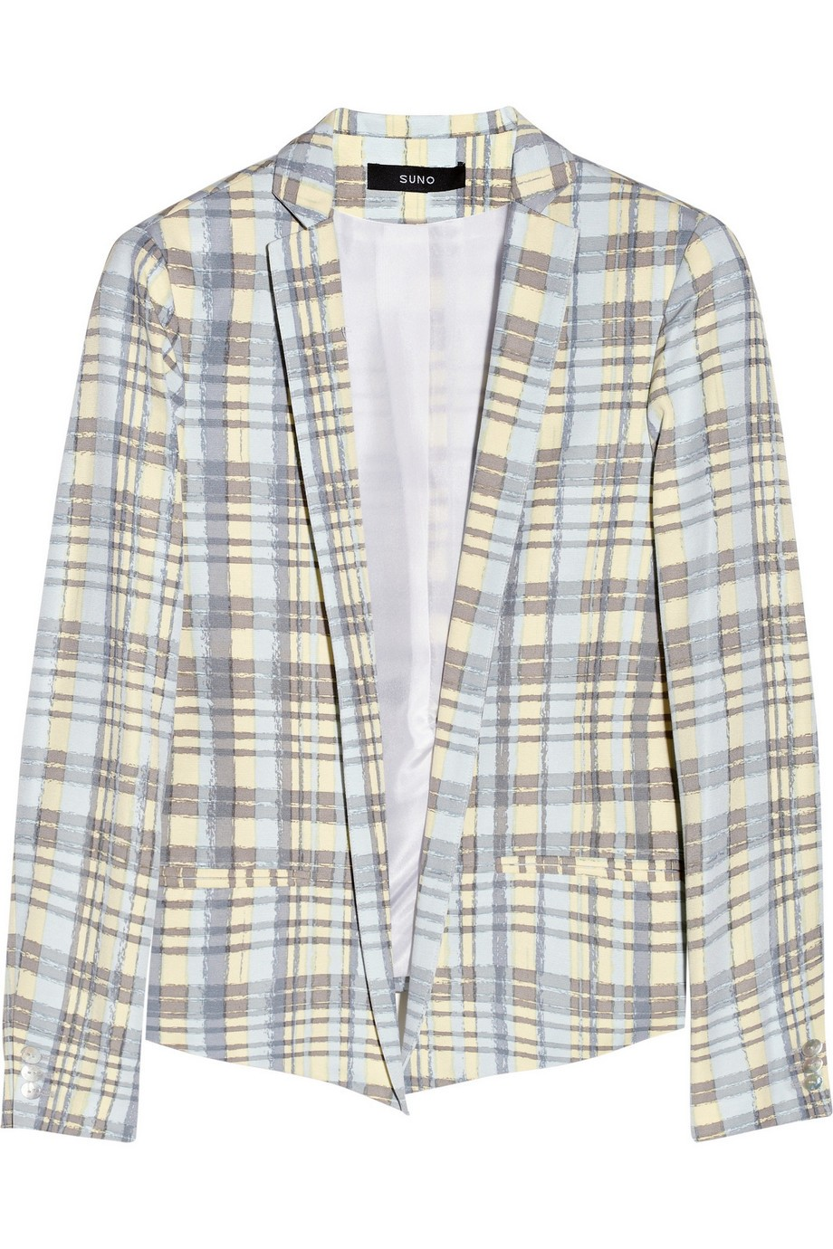 Plaid cotton and silk-blend blazer