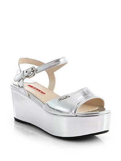 Metallic Leather Platform Wedge Sandals