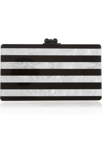 Jean striped pearl-effect box clutch