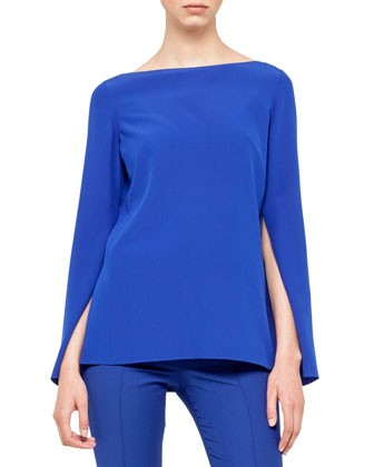 Silk Crepe Boat Neck Tunic, Blue
