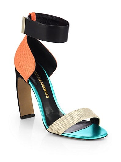 Woven Colorblock Ankle-Strap Sandals