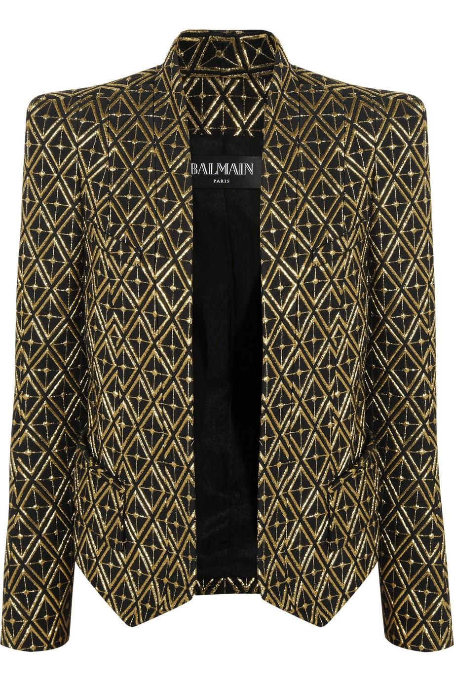 Metallic embroidered twill blazer