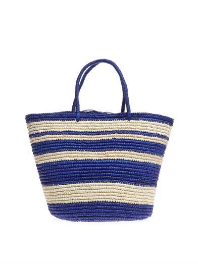 Stripe woven straw tote