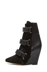 Scarlet Calfskin Suede Leather Wedge Booties in Black