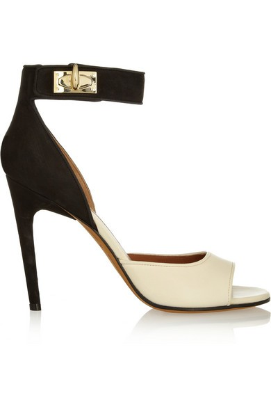 Shark Lock nubuck and textured-leather sandals in beige and black