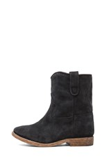 Crisi Calfskin Velvet Leather Boots in Anthracite
