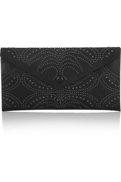 Studded leather envelope clutch