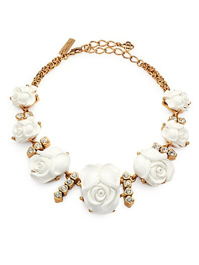Carved Rose & Crystal Necklace