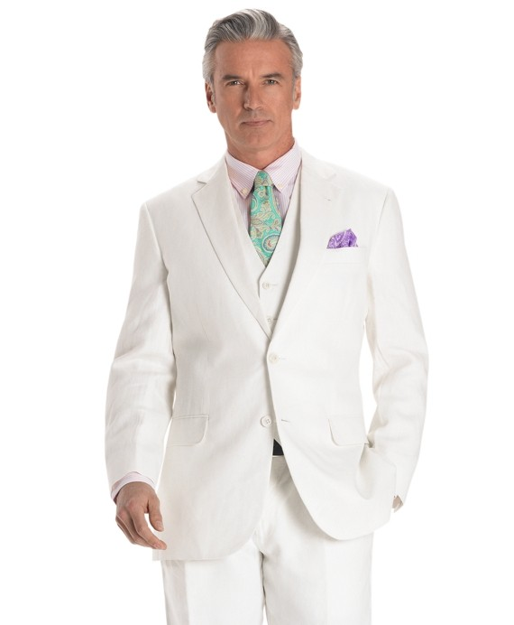 Madison Fit Linen Solid Suit with Vest     	     		Mini BB#1 Repp Slim Tie