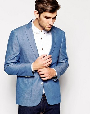 ASOS Slim Fit Blazer In Chambray