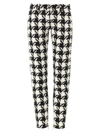 Houndstooth tapered-leg trousers