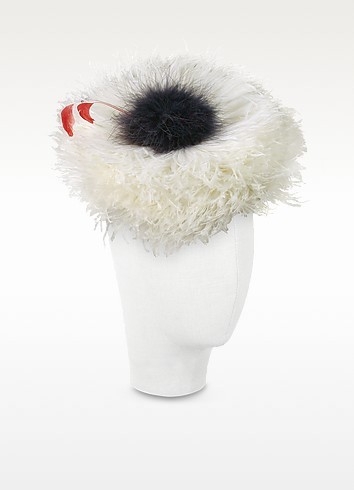 Abigail - Ivory Ostrich Feather Headdress