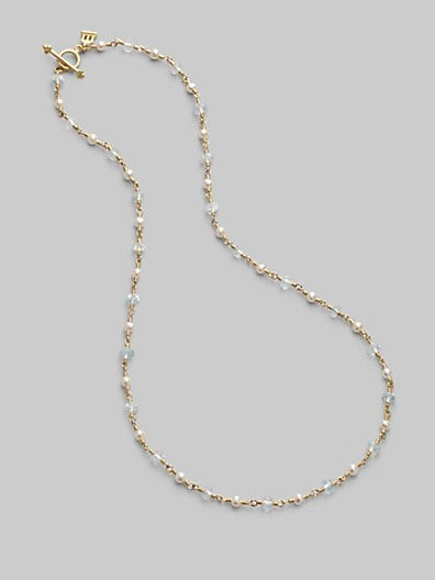 Aquamarine, Freshwater Pearl & 18K Yellow Gold Necklace