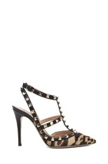 Cheetah Rockstud Calf Hair Slingbacks T.100 in Champagne