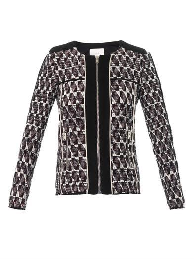 Kamber suede-trimmed jacquard jacket