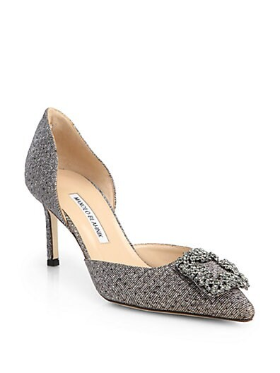 Hangisido Jeweled Glitter Lame d'Orsay Pumps