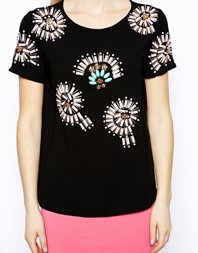 Arrogant Cat London Embellished Flower Top