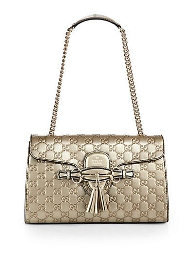 Emily Guccissima Metallic Leather Chain Shoulder Bag