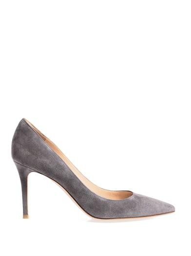 Point-toe suede pumps