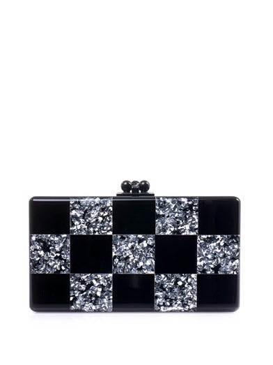 Jean checkerboard box clutch