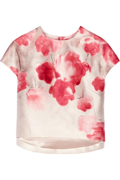 Floral-print wool and silk-blend shantung top