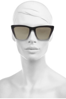 Sydney square-frame matte-acetate mirrored sunglasses