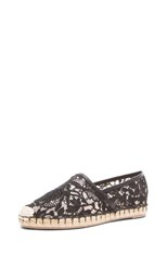 Glamorous Mesh & Crochet Knit Espadrilles in Black