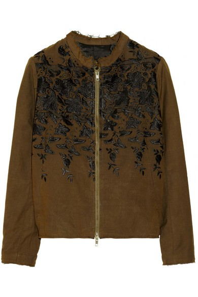 Embroidered silk bomber jacket