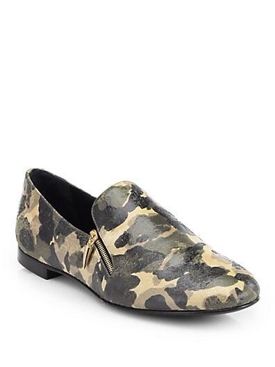 Double-Zip Camo Loafers