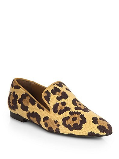 Leopard-Print Wool Smoking Slippers