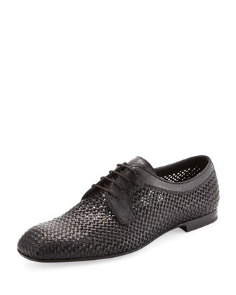 Alfride Open-Weave Lace-Up, Black - Bottega Veneta