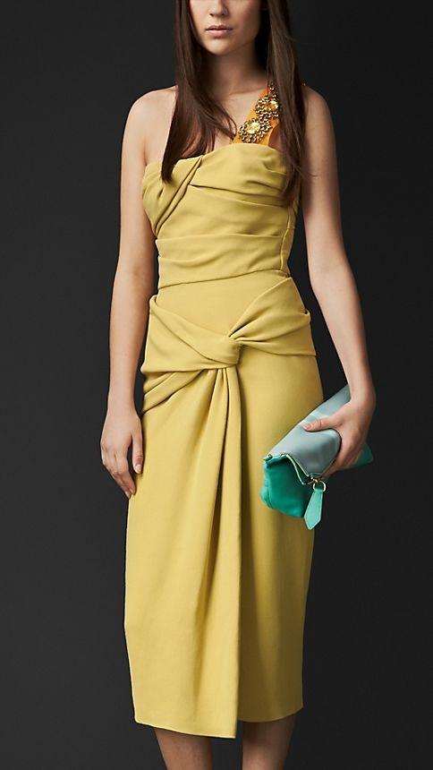 Draped Bustier Crêpe Dress