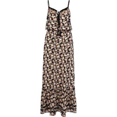 Black floral ditsy print maxi dress