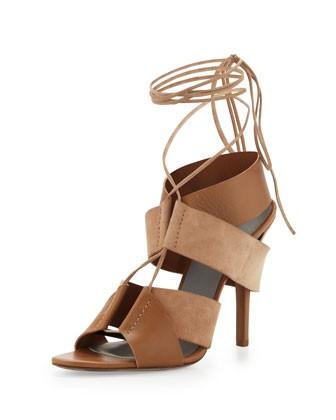 Malgosia Leather & Suede Sandal, Truffle
