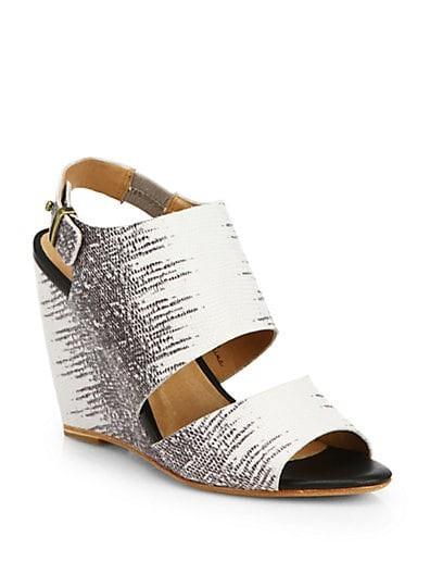 Ashland Embossed Leather Wedge Sandals