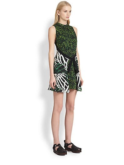 Mixed-Print Tie-Front Dress